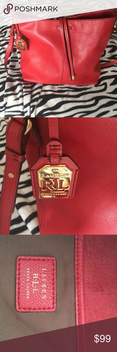 "10% off today only Ralph Lauren red leather purse Ralph Lauren red leather purse double strapped. 12"" tall 12"" wide excellent condition Ralph Lauren Bags Shoulder Bags"
