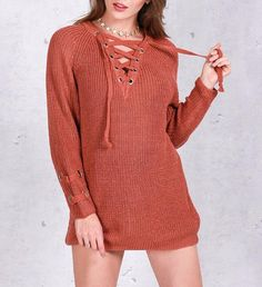 7a628c45c3 Danny Front Lace up knitted sweater. Winter SweatersSweaters For WomenBodycon  ...