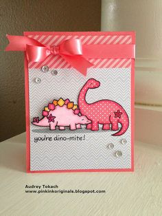 Lawn Fawn - Critters from the Past, Let's Polka 6x6 paper _ adorable Girly Dinosaurs by Audrey