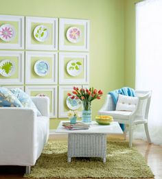 Easy wall art    Don't wait for a special occasion to enjoy a set of pretty dishes -- hang them on the wall! This three-by-three grid of colorful dishes surrounded by white frames packs a big punch. With green walls as a backdrop, the frames don't need mattes or glass.    Budget Decorating Tip: Look around your house for everyday items that can become art. Consider old calendar pages, fabric swatches or paint chips.