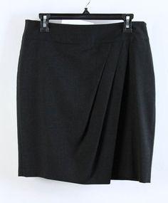 Ann Taylor Charcoal Wool Asymmetrical Pleat Straight Pencil Skirt 10 #AnnTaylor #StraightPencil #WeartoWork