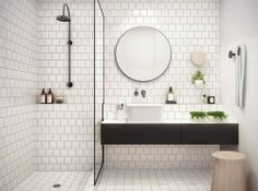 White bathroom ideas with white subway tile bathroom and floating vanity and sink plus shower room and round mirror bathroom for small bathroom decorating ideas Bathroom Inspo, Laundry In Bathroom, Bathroom Inspiration, Bathroom Interior, Bathroom Ideas, Bathroom Designs, Bathroom Trends, Bathroom Remodeling, Bathroom Makeovers