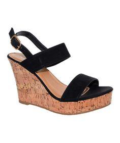 Black Double Strap Jenny Wedge Sandal