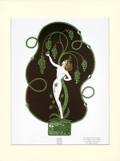 Erte MATTED Art Deco Print Emerald The Precious by VintageAdWorld