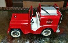 VINTAGE 1960'S TONKA PRESSED STEEL RED JEEP FIRE PUMPER CLEAN   | eBay