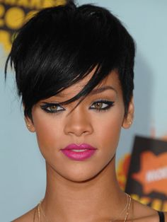 Rihanna's smoky eye and pink pout.