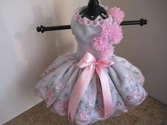 Dog Dress  Silver With Pink With Bow 2