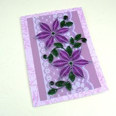 Quilling Card Paper Quilled Purple DAISIES  by EnchantedQuilling, $7.50