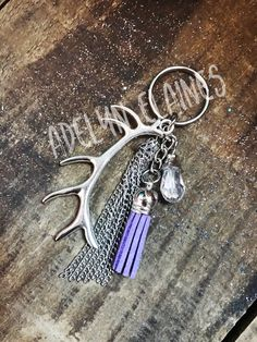 Purple and Silver Antler Keychain- Chain Tassel, Purple Tassel