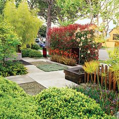 Previously covered with lawn and lacking privacy, this West Hollywood front yard is now a livable space with creative screening.