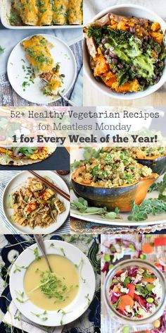 Dinner just got a whole lot easier with this collection of 52+ Healthy Vegetarian Recipes for Meatless Monday | One for every week of the year!