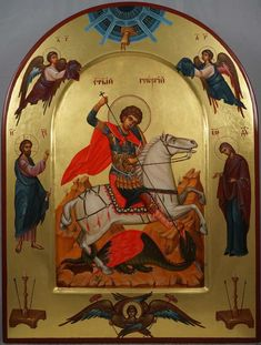 High quality hand-painted Orthodox icon of St George Slaying the Dragon (with saints). BlessedMart offers Religious icons in old Byzantine, Greek, Russian and Catholic style. Paint Icon, Saint Georges, Religious Icons, Orthodox Icons, Medieval Art, Gods And Goddesses, Byzantine, Icon Design, Saints