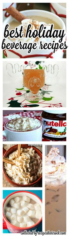 The BEST holiday beverage recipes from some of my favorite bloggers! Iced Coffees, Eggnog Lattes, Protein Coffee, Hot Chocolate Recipes, Pumpkin Lattes, Jolly Juice, Apple Ciders, Sangria and more! Great warm crock pot recipes and chilled holiday beverage options. Truly something for everyone!