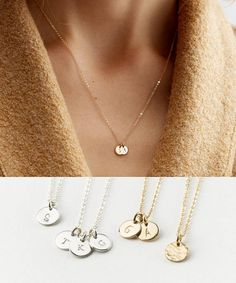 Delicate Initial Necklace. Customized, multi-disk options available for the perfect meaningful necklace, or a lovely gift! Dainty Gold Disk Necklace with Tiny Personalized Tags in 14k Gold Fill or choose Sterling Silver or Rose Gold Fill. T I N Y ∙ D I S K ∙ N E C K L A C E