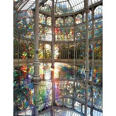 Rainbow Pool In Madrid - My Modern Metropolis ❤ liked on Polyvore featuring backgrounds, pictures, interior, rainbow e fillers