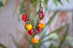 Pumpkin necklace Lampwork jewelry Glass vegetable Fall necklace Autumn garden Nature Harvest Jewelry Food Women gift Christmas gift for her