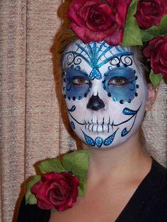 "sugar skull face painting designs   SARA "" MY BLUE SUGAR SKULL""   Face Paint * My Stuff aND nEW IDEAS"