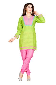 Green and Pink Color Embelleshes Cotton Kurtis    green kurtis, green color kurtis, green colour kurti design, green kurtis online, green colour kurtis