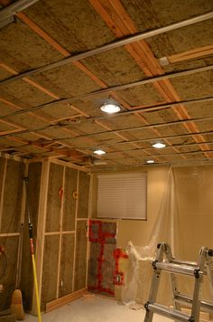 Sound Proofing for a Home Theater, using Resilient Channels and Rock Wool Insulation.  Would have been better if double drywall layers were used or OSB boards as a backer layer.  But this is more economical.