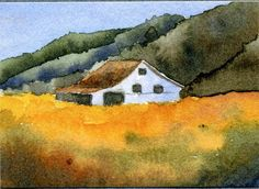 "aceo print reproduction of original watercolor painting ""Hay 'Field"" old barn, farm, field, mountains of W.Va."