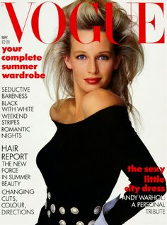 French actress and model Estelle Lefébure shot to fame in the early 1980s after being shot by Wayne Mazer for a Guess campaign. Here, she appears on the cover of British Vogue in a black silk-jersey scoop-neck top and jewelled belt by Valentino. Photographed by Patrick Demarchelier for the May 1987 issue, this shoot covered the well-travelled theme of day-to-night dressing complete with big hair 'moussed and set on large rollers for volume' by Mitch Barry.