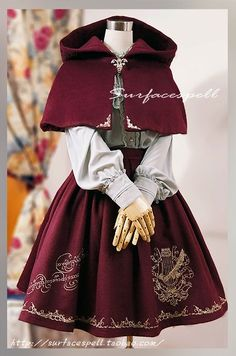 Cute Surface Spell 'red riding hood' coordinate on Taobao. Old Fashion Dresses, Fashion Outfits, Kawaii Fashion, Cute Fashion, Style Lolita, Gothic Lolita Fashion, Mode Kawaii, Fantasy Dress, Kawaii Clothes