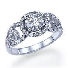 Diamond Engagement Halo Ring Circle Design 14k White par ldiamonds