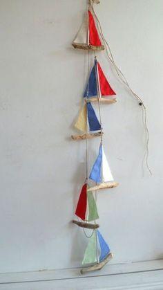 6 Handmade Driftwood hanging Sail Boats Garland Nautical Bunting Wall hanging | eBay