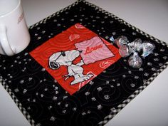 Valentine Snoopy Mug Rug      Set of Two by EggMoneyQuilts on Etsy, $18.00