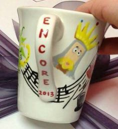 'Encore'- commissioned mug for the director of a Musicals themed variety show.  A Chorus Line, Chicago, Little Shop of Horrors, Spamalot, The Lion King, The Phantom of The Opera, The Rocky Horror Show A Chorus Line, Rocky Horror Show, Little Shop Of Horrors, Phantom Of The Opera, Lush, Musicals, Chicago, King, Gifts