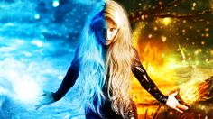 Girl Of Fire And Ice, 3D Art, Blonde, Blue, Fire, Girl, Ice, Orange