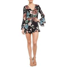 Bardot Amelia Floral Romper ($89) ❤ liked on Polyvore featuring jumpsuits, rompers, harmony, white romper, long-sleeve romper, playsuit romper, v neck romper and floral rompers