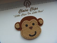 Felt Monkey Snap Clip by ClaireClipsBoutique on Etsy, $1.99 - pattern to copy