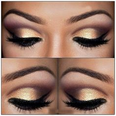 eye makeup, winged eyeliner, cut crease, gold, lashes