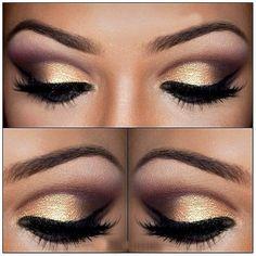 eye makeup, winged eyeliner, cut crease, gold, lashes
