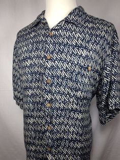 Roundtree Yorke Hawaiian Shirt Mens XL Blue White Rayon Tropical Aloha Camp #RoundtreeYorke #Hawaiian