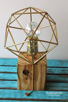 Reclaimed Wood Lamp with Himmeli Shade!  Make this lamp in 2 hours for less than $10!