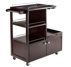 Serving Cart Rolling Mini Bar Wooden Trolley Beverage Cabinet Glass Rack Tray  #ServingCartRolling
