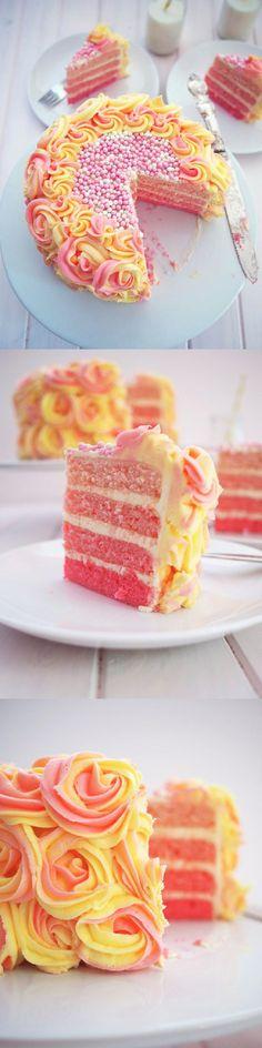Pink Rainbow Lemonade Cake with Buttercream Icing - 15 Best Spring Dessert Ideas | GleamItUp