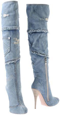 Gianmarco Lorenzi Boots in Blue Denim Thigh High Boots, High Heel Boots, Heeled Boots, Bootie Boots, High Heels, Platform Boots, Gianmarco Lorenzi, Cute Shoes, Me Too Shoes