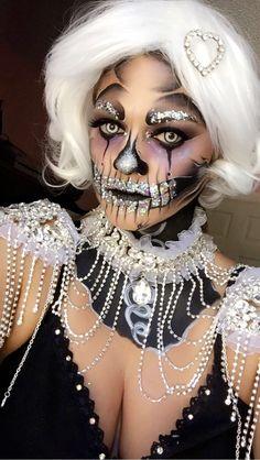 Glitter Clown Skull. Makeup self application at StarstoSkulls on IG & FB
