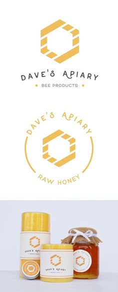 Logo and label design for Dave's Apiary a bee product company. Simple minimalist and modern. Brand Identity Design, Branding Design, Design Logos, Label Design, Packaging Design, Product Packaging, Logo Minimalista, Honey Packaging, Graphic Design Inspiration
