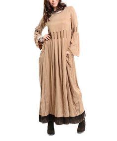Love this Mink & Brown Contrast Maxi Dress by Etnik Esintler on #zulily! #zulilyfinds