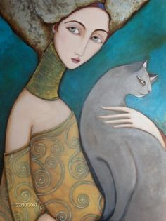 """grace with cat"", Faiza Maghni. Pintora autodidacta, nacida en Argelia"