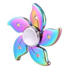 [$5.57] Fidget Spinner Toy Stress Reducer Anti-Anxiety Toy for Children and Adults,  Steel Beads Bearing + Zinc Alloy Material, Colorful Bauhinia Flower Shape