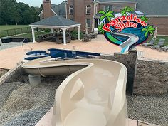 Here is a Beautiful Paradise Slides, Inc. #ResidentialWaterSlide in SAND. Looks like its ready to be thoroughly enjoyed! #PoolSlide #FunInTheSun #WhatsInYourBackyard! Water Slides, Pool Slides, Can Design, Swimming Pools, Paradise, Backyard, Outdoor Decor, Beautiful, Swiming Pool