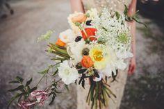 organic bouquet with anemones - photo by Eden Frangipane http://ruffledblog.com/creative-nashville-wedding-with-art-installations