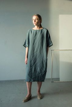 NEW Linen tunic dress with belt linen kimono tunic maxi