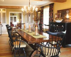 If I were to convert our family room to a dining room, I would have room for a long table like this and storage piece for dishes, platter, linens. Might be nice to dine fireside with family/friends. Dining Room Design, Dining Room Table, Kitchen Dining, Kitchen Decor, Kitchen Tables, Dining Furniture, Wood Table, Dining Chairs, Prim Decor