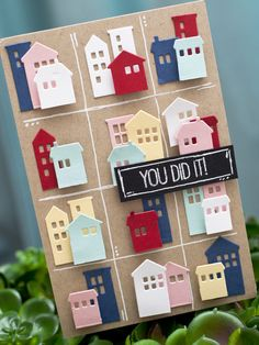 """Hey there everyone! This is my last card inMy Favorite Things Stamps card challengefor December! This week's sketch definitely took me out of my comfort zone. The repetitive layout is something I may perhaps stamp, but not die cut. When I got the idea, I knew it """"had to work!""""The Our Town…"""